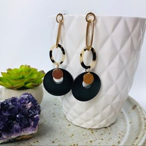 Wood & Resin Golden Hardware Dangle Earrings